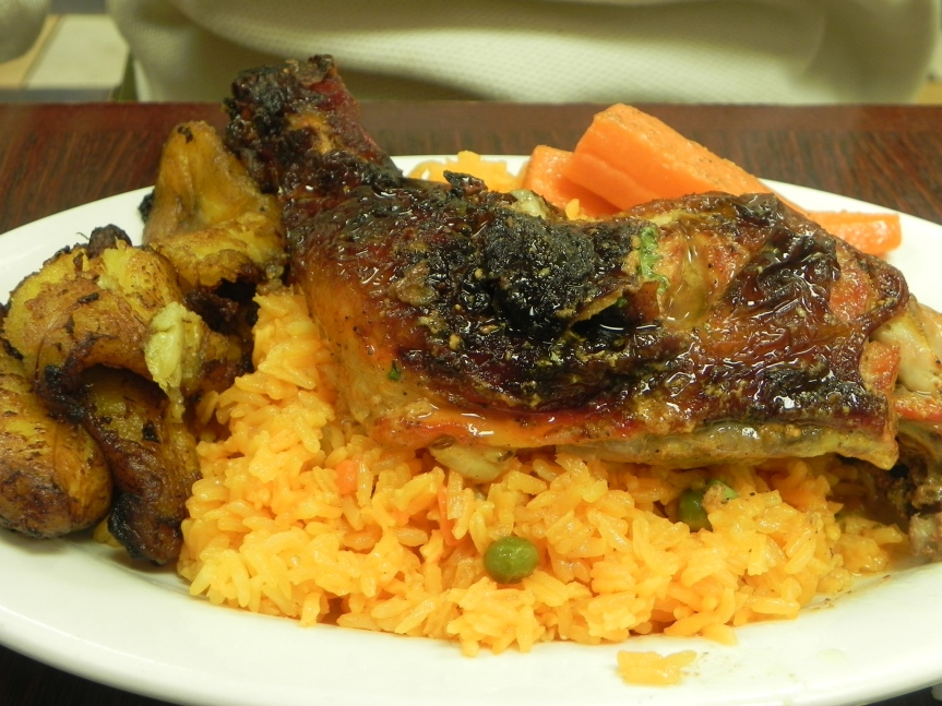 Baked Chicken with Yellow Rice and Plantains $9.00