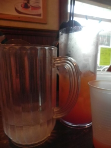 pitcher of water comparison to Horny Hawaiian fish bowl ($14) 60 ounces!