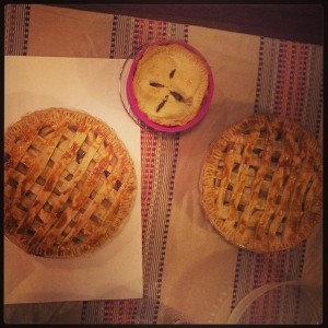 Three apple pies Pinky JUST made! Fresh out of the oven...